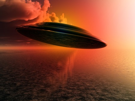 hoax: A Flying saucer hovering over a ocean.