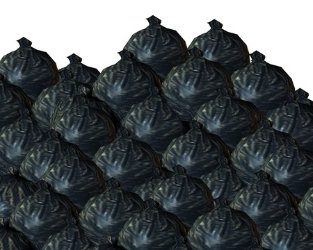 trashed: A background made out of rubbish bags. Stock Photo
