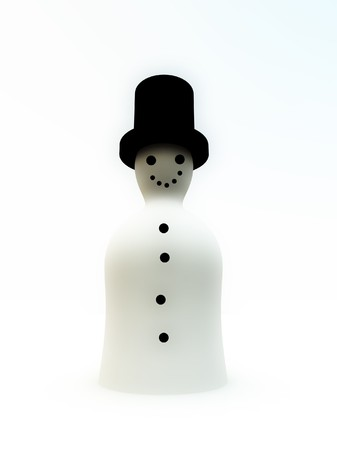 blissful: A simple 3D snowman for Christmas concepts. Stock Photo