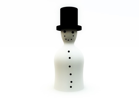 contended: A simple 3D snowman for Christmas concepts. Stock Photo