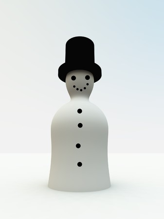 jovial: A simple 3D snowman for Christmas concepts. Stock Photo