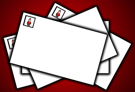 interact: A pile of letters for Christmas with a Father Christmas stamp.