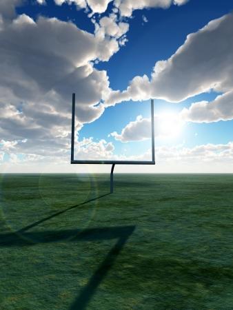 An American football post on a field.