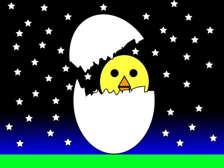 nightime: A Easter chick hatching at night.