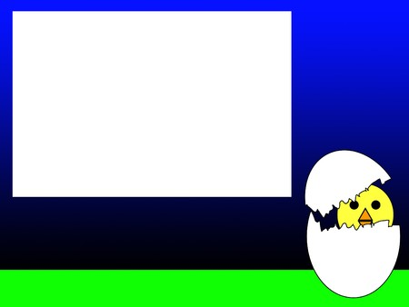 customisable: An Easter chick with a blank customisable sign.
