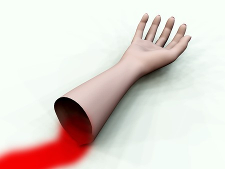 A bloody decapitated arm for Halloween and medical concepts.