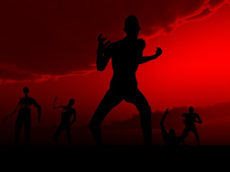 reanimation: Zombies with a sky background, for Halloween. Stock Photo