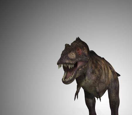 menacing: A Tyrannosaurus Rex dinosaur, with a menacing mouth.
