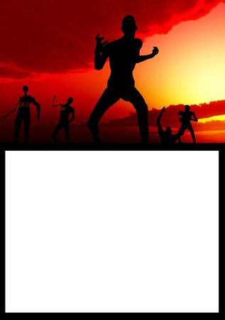 customisable: A scene with zombies with a customisable blank sign. Stock Photo