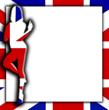 brit: Blank sign with a silhouetted union Jack flag women.