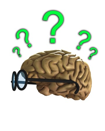 baffled: Concept image of a confused clever brain.