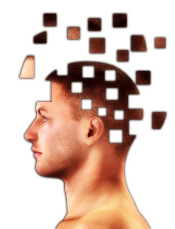 Mental health concept of a mans head falling to bits. Stock Photo - 4256408