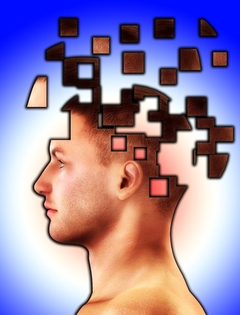 Mental health concept of a mans head falling to bits. Stock Photo - 4256410