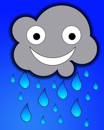 A happy but very rainy cartoon cloud. Stock Photo