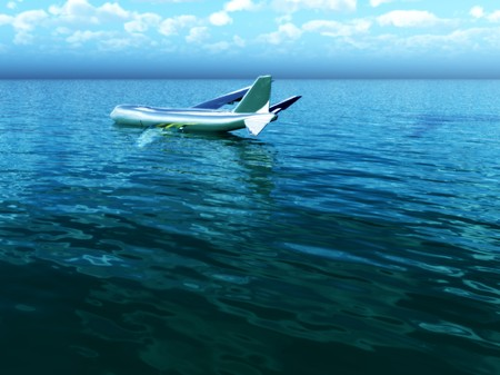 outside machines: Image inspired by the Hudson River plane crash. Stock Photo