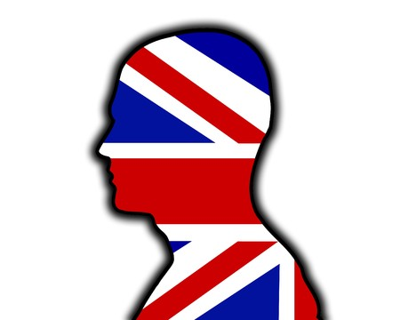 brit: Concept image of a head with the Union Jack Flag.