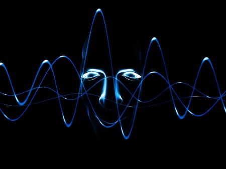 oscillation: A face with an added soundwave for music concepts