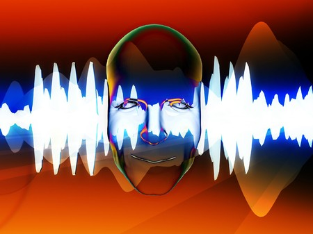 oscillation: A face with an added soundwave for music concepts.