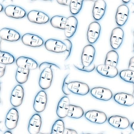 conformist: Seamless pattern made out of faces. Stock Photo