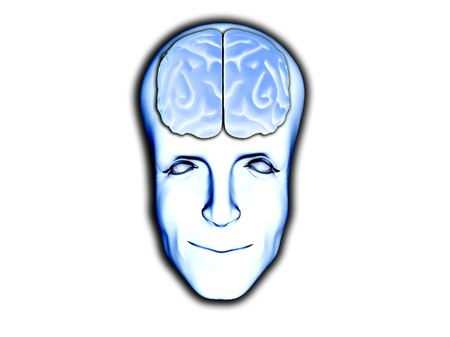 A happy face with visable brain, for medical or smart concepts. photo