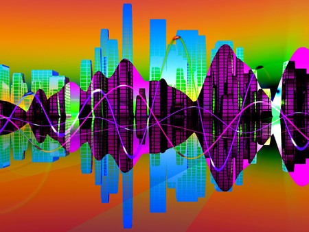 A mix of soundwaves representations for music concepts. photo
