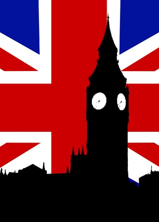 Houses of Parliament and the United Kingdom Flag.