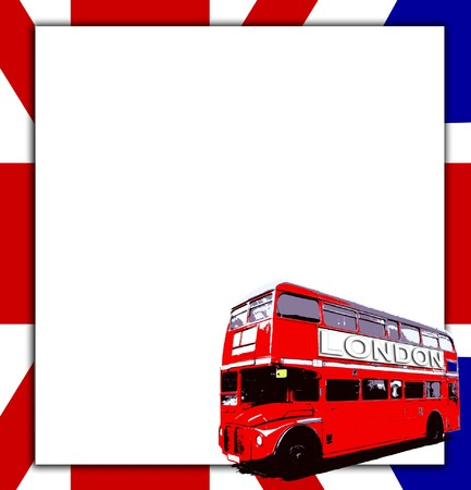 London Routemaster bus a UK flag with blank sign. Stock Photo