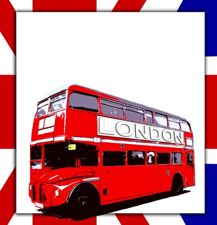 english bus: London Routemaster bus a UK flag with blank sign. Stock Photo