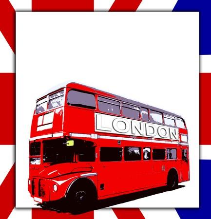 bandera de reino unido: Londres Reino Unido Routemaster autob�s marca con una se�al en blanco. Foto de archivo
