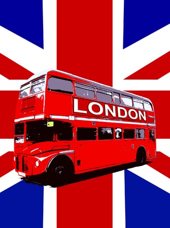 double: Concept image of a London Routemaster Bus. Stock Photo