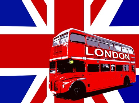 Concept image of a London Routemaster Bus. Stock Photo