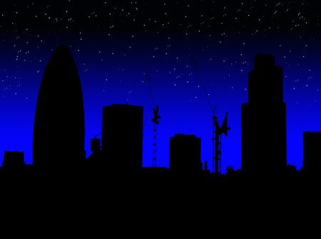 gherkin building: A simple silhouette of the skyline of London (featuring the Gherkin). Stock Photo