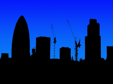 gherkin: A simple silhouette of the skyline of London (featuring the Gherkin). Stock Photo