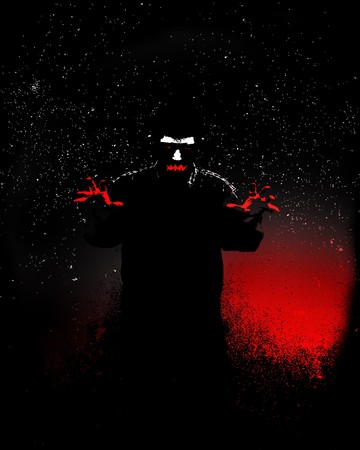 vile: Sinister male figure at night, for Halloween or criminality concepts.