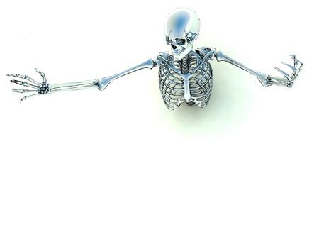뼈대 할로윈이나 의료 개념에 대 한 지상에서 나오는.
