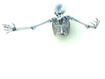 Skeleton coming out of the ground for Halloween or medical concepts. Stock Photo