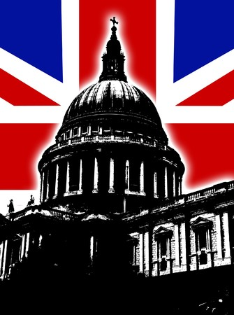 st pauls: St Pauls Cathedral in London with the UK Flag.