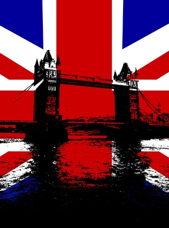 Tower Bridge in London with the UK flag. photo