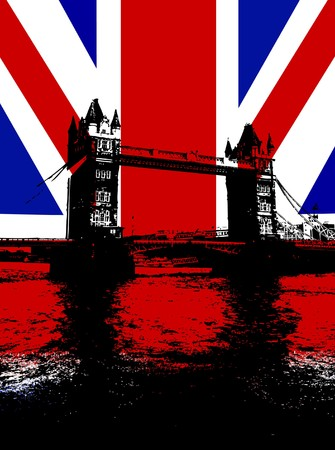 brit: Tower Bridge in London with the UK flag.