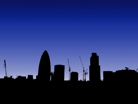 gherkin: The London skyline in silhouette with the Gherkin. Stock Photo