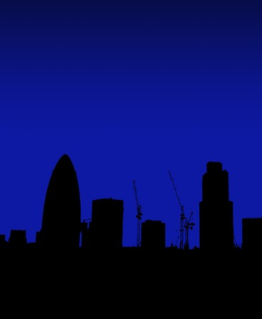 gherkin building: The London skyline in silhouette with the Gherkin. Stock Photo