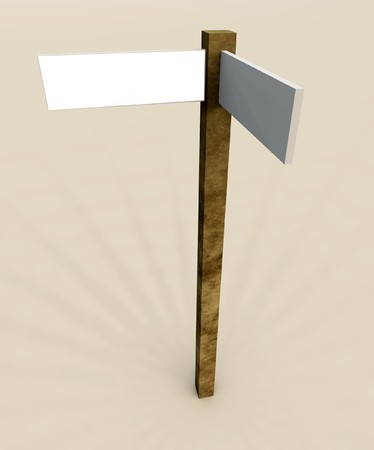 customisable: A blank customisable sign post in the middle of nowhere. Stock Photo