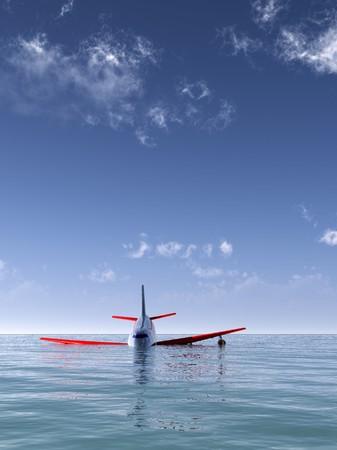 바다에 추락 한 비행기. 스톡 콘텐츠