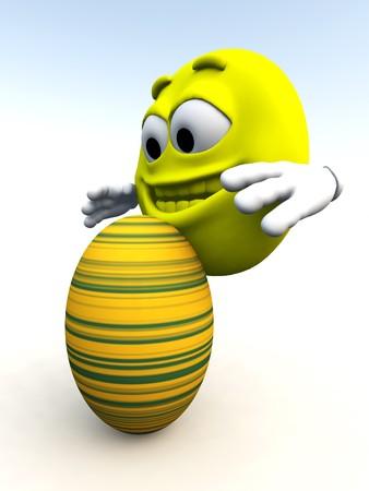 jovial: Cartoon man happy that he has got an Easter egg. Stock Photo