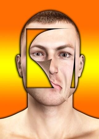 껍질을 벗긴 인간의 얼굴의 이미지입니다. 스톡 콘텐츠