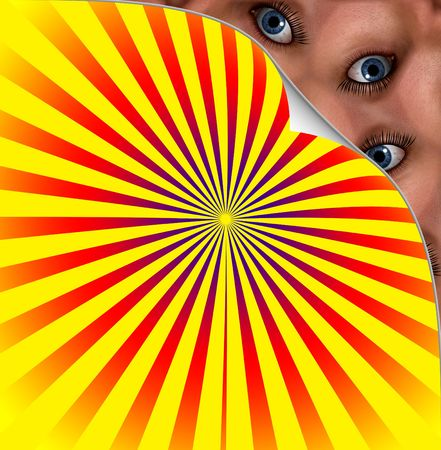 stared: Creepy Eyes Under Colour Background Stock Photo