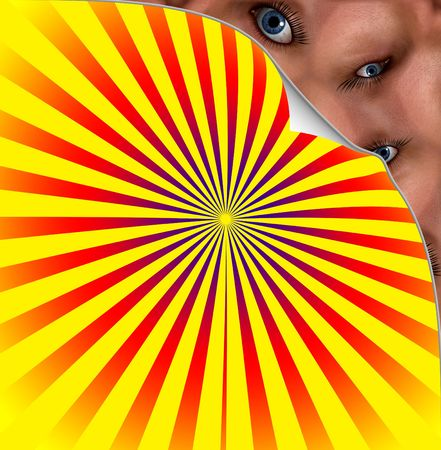 Creepy Eyes Under Colour Background Stock Photo