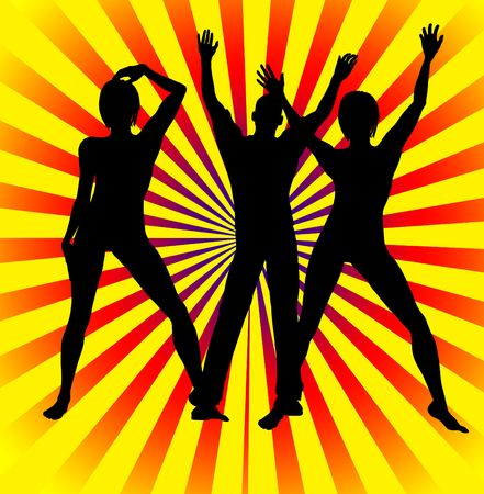 Silhouette of a men and women partying away. photo