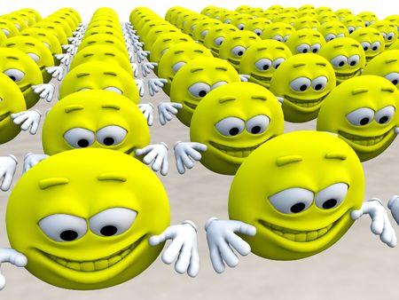 jovial: Lots of happy cartoon men for happiness concepts.