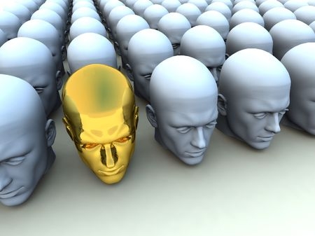 distinctive: Conceptual image about being an individual amongst conformists.